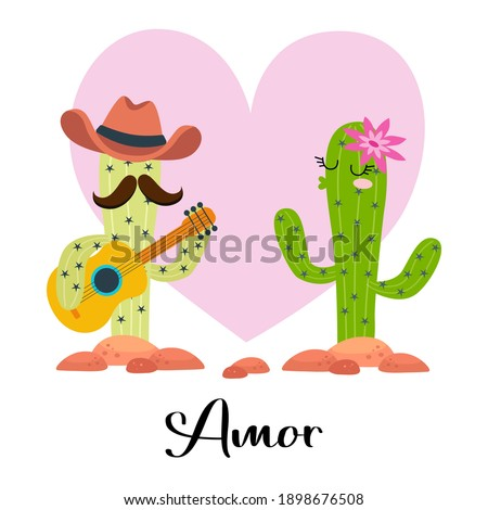 loving cactus with guitar with heart on white Amor - Love Foto d'archivio ©