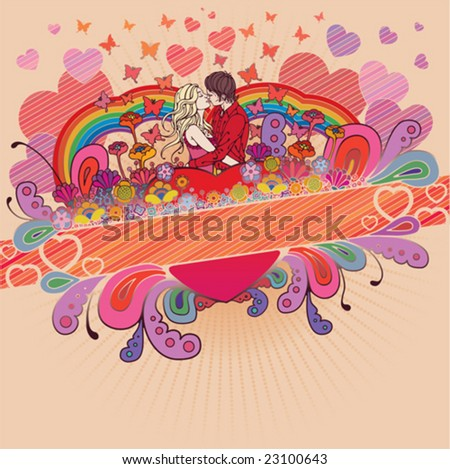 Loving couple in beautiful composition of flowers, hearts and butterflies