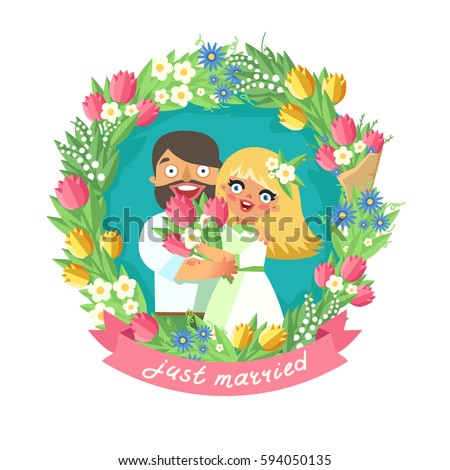 loving couple in floral wreath