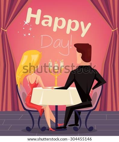 Loving couple in restaurant. Vector flat cartoon illustration