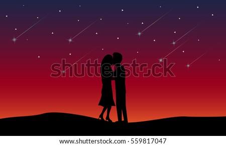 loving couple kissing among