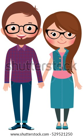 Loving couple man and woman dressed as hipsters Stock Vector cartoon illustration