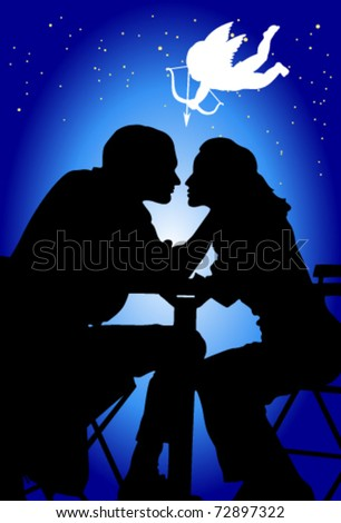 loving couple on a background star sky and amur