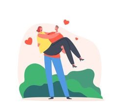 Loving Couple Romantic Relations. Man Holding Woman on Hands with Hearts Flying around. Happy Lovers Valentines Day Dating, Love Feelings, Romance Emotions. Cartoon People Vector Illustration