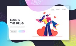 Loving Couple Romantic Relations Website Landing Page. Man Holding Woman on Hands with Red Hearts around. Happy Lovers Valentines Day Dating, Love Web Page Banner. Cartoon Flat Vector Illustration