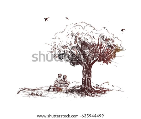 loving couple under a big tree