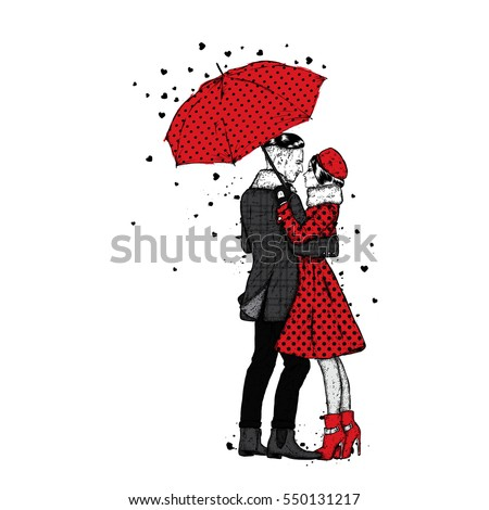 loving couple under an umbrella