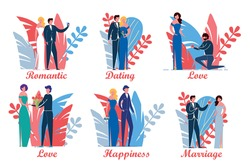 Loving Couples in Various Dating and Love Affairs Actions Set. Man and Woman Cartoon Characters on Tropical Leaves Decorative Background. Romantic Relationships Stages. Flat Vector Illustration.