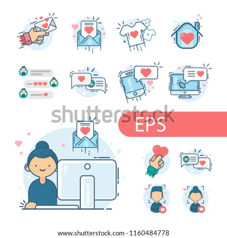 Loving Girl. Vector modern line design illustration icon #1160484778