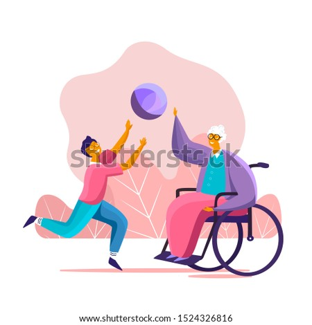 Loving grandchild playing the ball with his old disabled granny in the wheelchair having fun and supporting her. Family support concept illustration. Happy son caring for his senior mother Flat vector