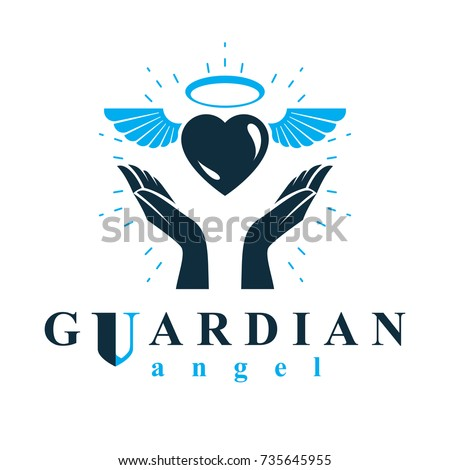 Loving heart in human hands, giving aid metaphor. Holy spirit graphic vector logo best for use in charity organizations.
