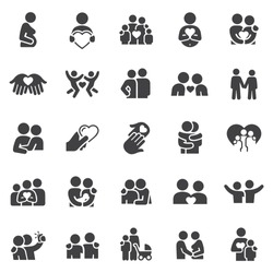 Loving Relationships Icons stock illustration. Families, couples, boyfriend and girlfriend, pregnant women, feeling of love and affection symbolized by a heart shape, husband and wife, hugs
