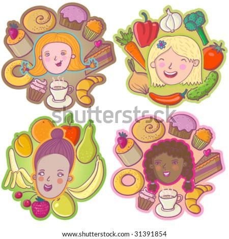 Loving tasty food. Cartoon vector icons