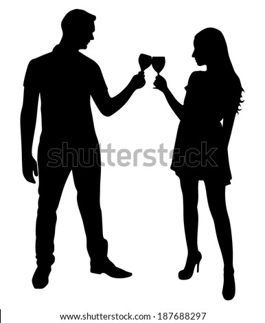 loving young couple toasting