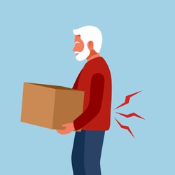 Low back pain concept vector illustration on white background. Senior old man holding heavy box and suffering from backache. Bone or muscle problem.