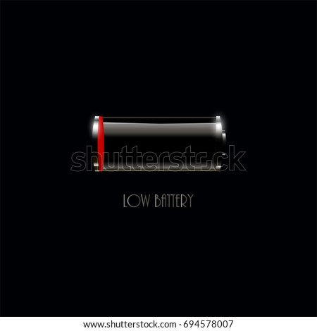Low battery icon on black background for web and mobile