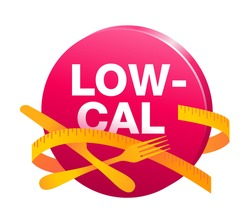 Low Cal and healthy eating 3D icon - red button with fork, knife and measuring tape around - pictogram for dietary low-cal food products - isolated vector emblem