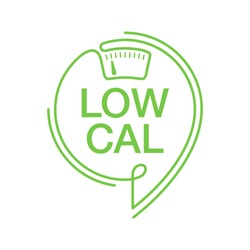 Low Cal stamp in thin line - combination of pin mark and weight scales - pictogram for dietary low-cal food products - isolated vector emblem