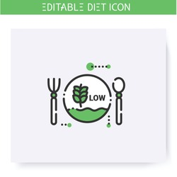 Low carb diet line icon. Ketogenic diet. Weight loss. Portion control. Healthy eating. Dietary nutrition. Calorie count. Slimming concept. Isolated vector illustration. Editable stroke