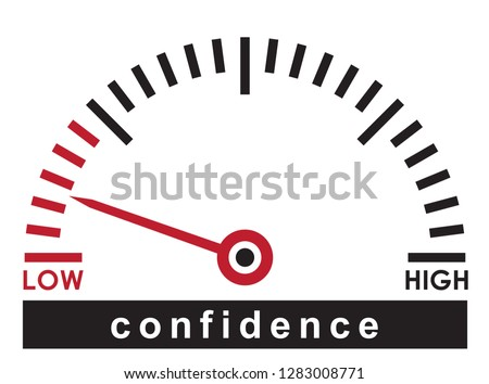 low confidence,  monitoring dial scale - news illustration template