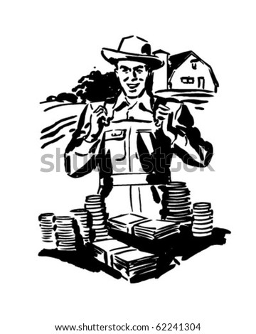 Low Cost Farm Loans - Retro Clipart Illustration