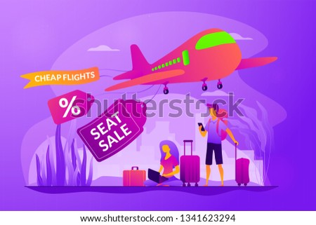 Low cost flights, budget air tickets, cheap fly tickets concept. Colorful vector isolated concept illustration with tiny people and floral organic elements. Hero image for website.