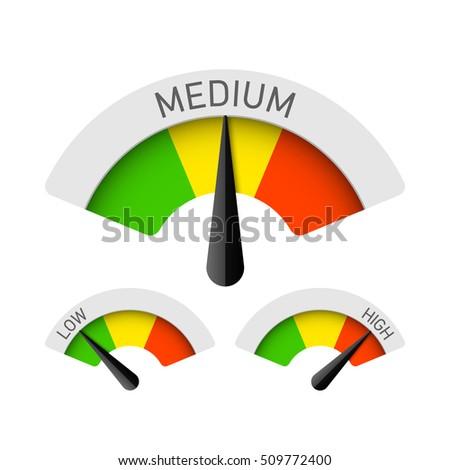Low, Medium and High gauges. Vector illustration.