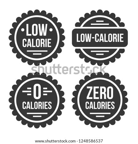 Low or Zero Calorie Product Label Set on White Background. Vector