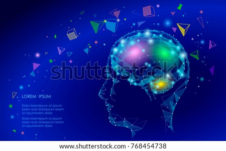 Low poly abstract brain virtual reality concept. Geometric polygonal shapes neurocomputer  mind imagination dream modern vector illustration active thinking process. Human extra mental intelligence
