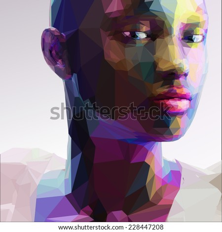 low poly abstract portrait of a