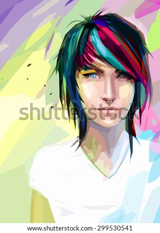 low poly abstract portrait of