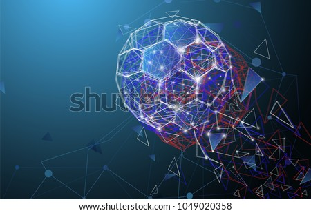 Low poly abstract trinagles and hexagons soccer russia 2018 cup ball isolated on dark blue background. World network connection style. Techno modern tournament soccer footbal ball design.
