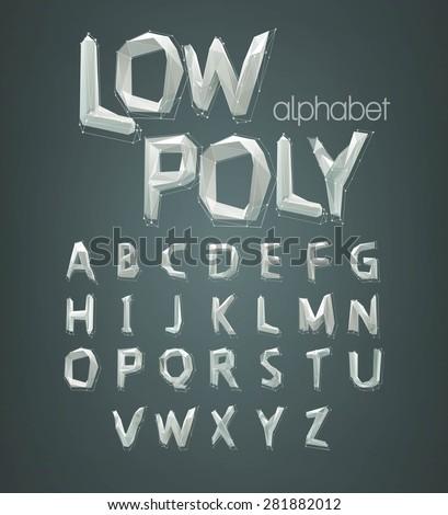 low poly alphabet font. Vector illustration EPS 10
