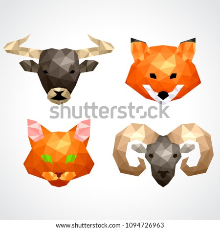 Low poly animals: bull fox cat ram icons vector set