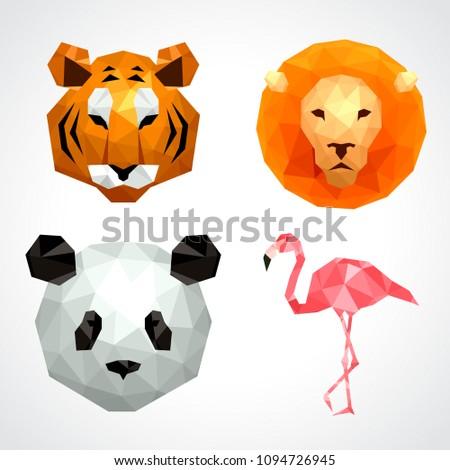 Low poly animals: tiger lion panda flamingo icons vector set