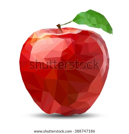low poly apple abstract
