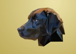 Low poly art of a black dog head in high details. Vector animal triangle geometric illustration. Abstract polygonal art. With yellow color gradient background.