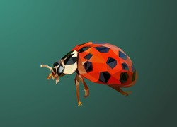 Low poly art of lady bug in high details. Vector bug triangle geometric illustration. Abstract polygonal art. With green gradient color background.