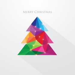 low poly art style multicolored Christmas tree greeting card- polygonal design