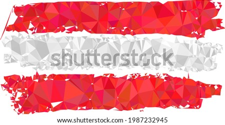 Low-poly Austria flag combined with random filled triangles. Triangle Austria flag polygonal symbol illustration. Austria Flag icon is filled with triangles.