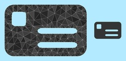Low-poly banking card icon on a light blue background. Polygonal banking card vector filled with chaotic triangles. Triangulated banking card polygonal 2d illustration.