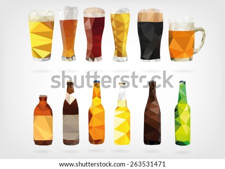 low poly beer bottles and