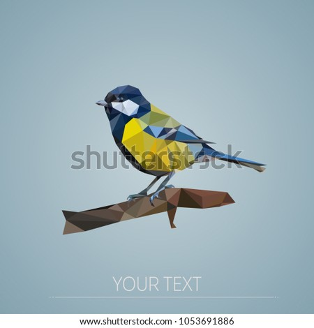 low poly bird/geometric polygonal titmouse on a branch