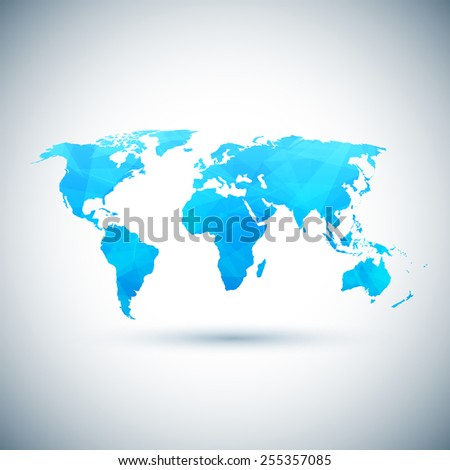 low poly blue vector world map