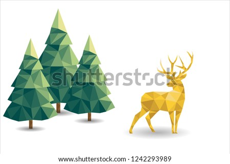 Low poly Christmas scene with reindeer and pines. Vector illustration