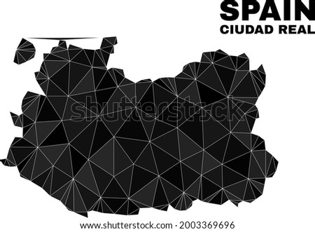 Low-poly Ciudad Real Province map. Polygonal Ciudad Real Province map vector is designed from randomized triangles. Foto stock ©