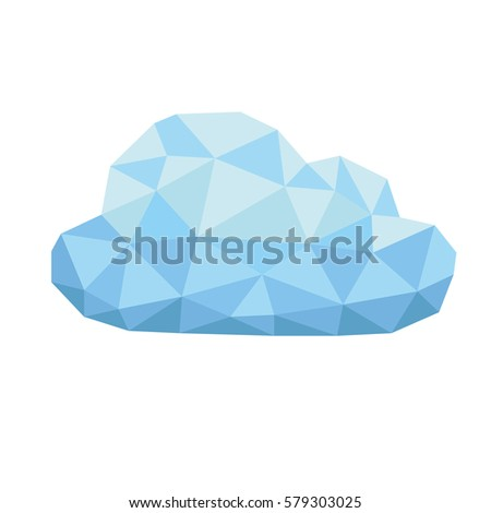 low poly cloud on white