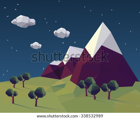 low poly cloudy evening