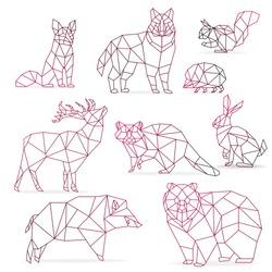 Low poly color gradient line animals set. Origami poligonal line animals. Wolf bear, deer, wild boar, fox, raccoon, rabbit and hedgehog.