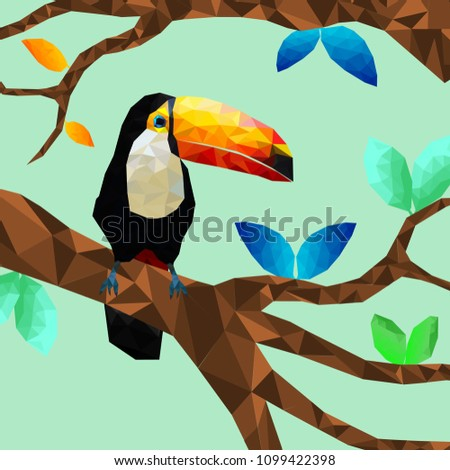 Stock Photo Low poly colorful toucan bird with tree on back ground, birds on the branches ,animal geometric concept,vector